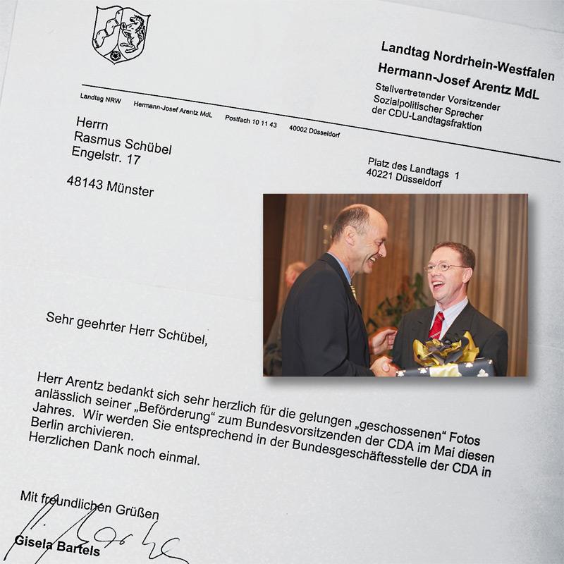 Hermann-Josef Arentz und CDU Generalsekretär Laurenz Meyer im Palais Schaumburg