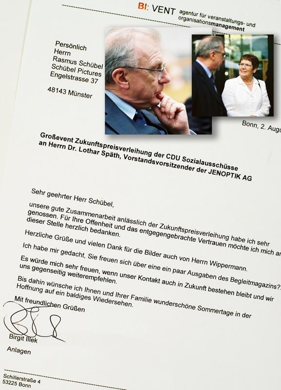 Unaufgefordert zugesandte Referenz nach einem Event mit Dr. Lothar Späth und Rita Süßmuth