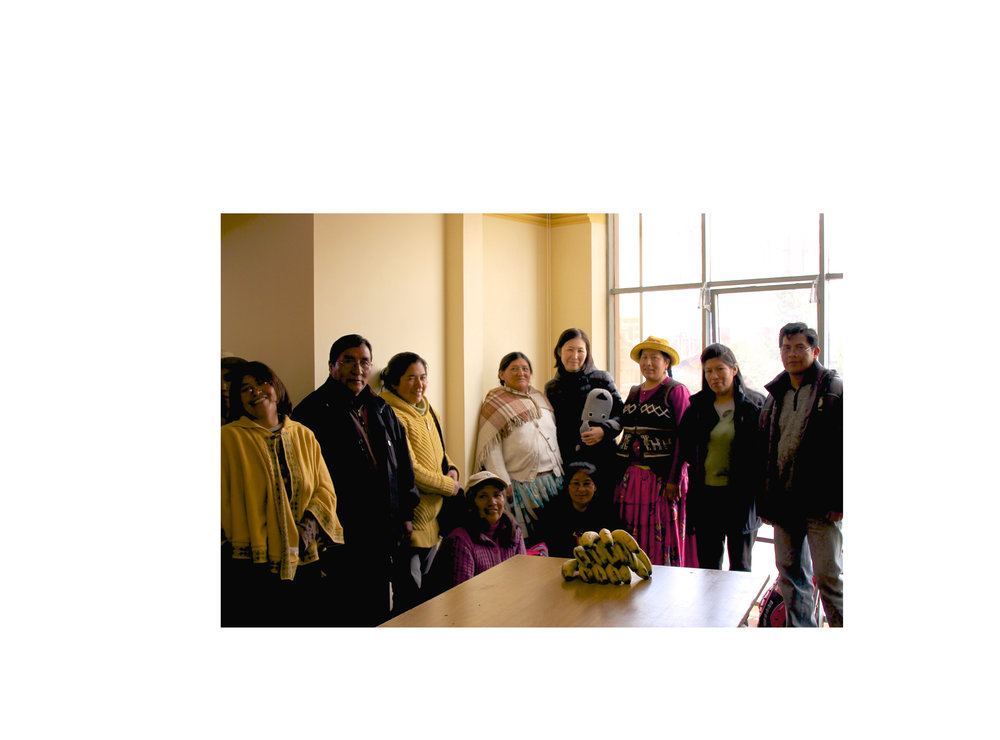 yoko with a group of knitters in el alto, bolivia 2015