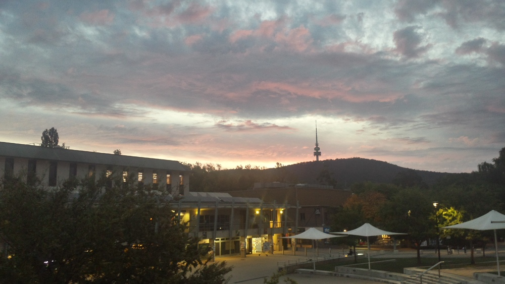 sunset over Black Mountain, ANU campus.