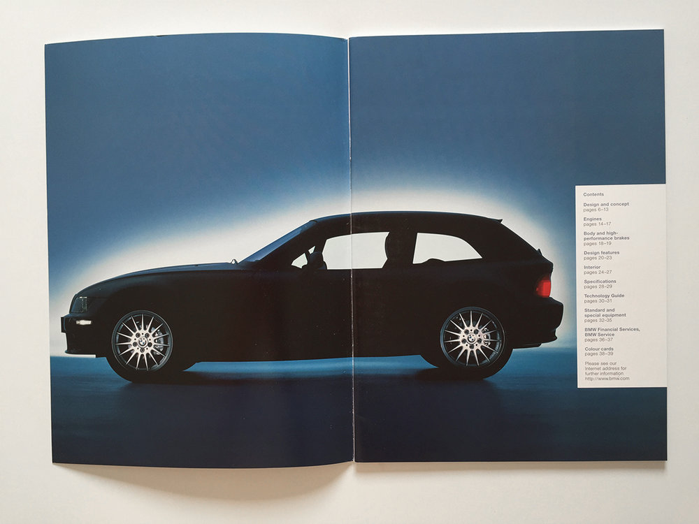 Original coupe brochure. Launched in 1998, the shape of the Z3 was ahead of it's time.