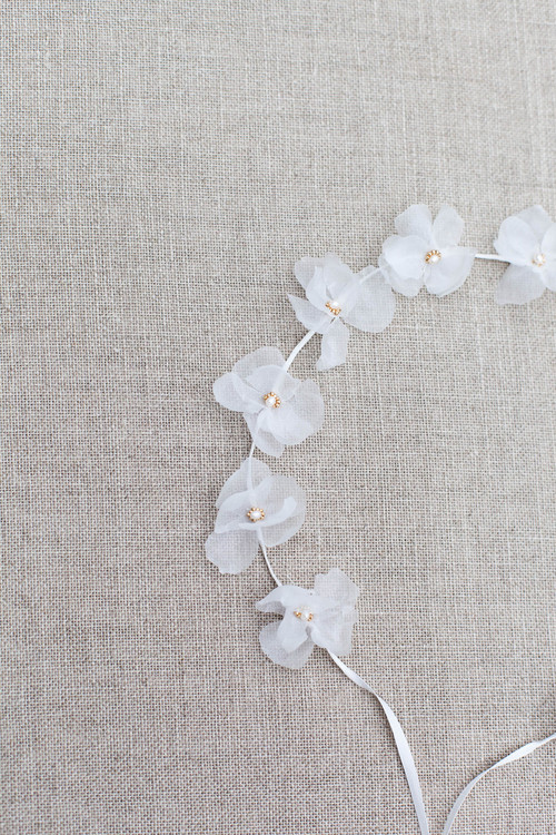 Fleur Silk Flower Wedding Headband Blackbirds Pearl