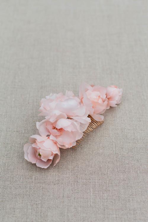 Celesete Silk Flower Wedding Hair Comb Blackbirds Pearl