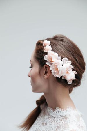 Shop blackbirds pearl silk flower bridal headpiece blush peach mightylinksfo