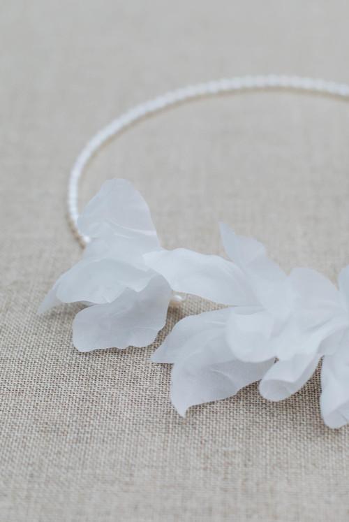Iris Couture Silk Flower Pearl Halo Blackbirds Pearl