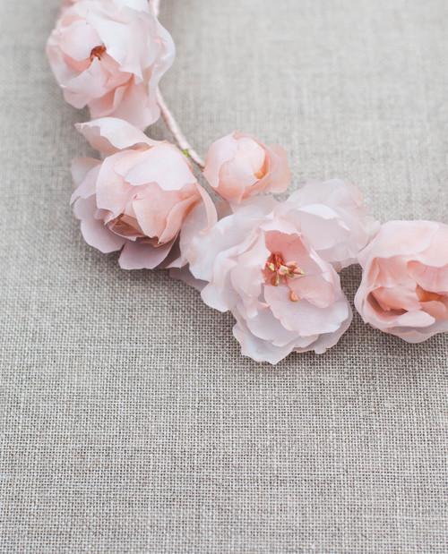 Wild Rose Couture Blush Silk Flower Wedding Crown Blackbirds Pearl