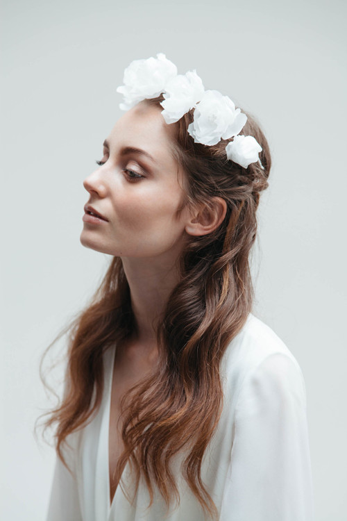 Blanche White Bridal Silk Flower Crown Blackbirds Pearl