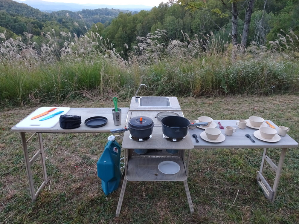 """Set up dimensions; Camp Kitchen Box 21.5"""" x 45.5"""" x 36"""" LWH with one Side table 59.5"""" x 45.5 x 36"""" LWH with two Side Tables 97.5"""" x 45.5"""" x 36"""" LWH"""
