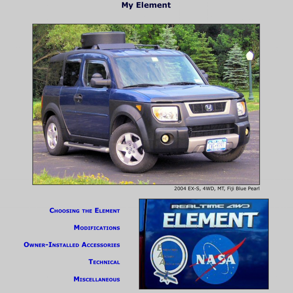 MY ELEMENT This site is all Element. Detailed technical data from Color Codes to Part Numbers. If you own an Element, bookmark this page. This site belongs to Element Owners Club Forum member ramblerdan. You will see his posts all over the EOC using his vast knowledge of all things E.
