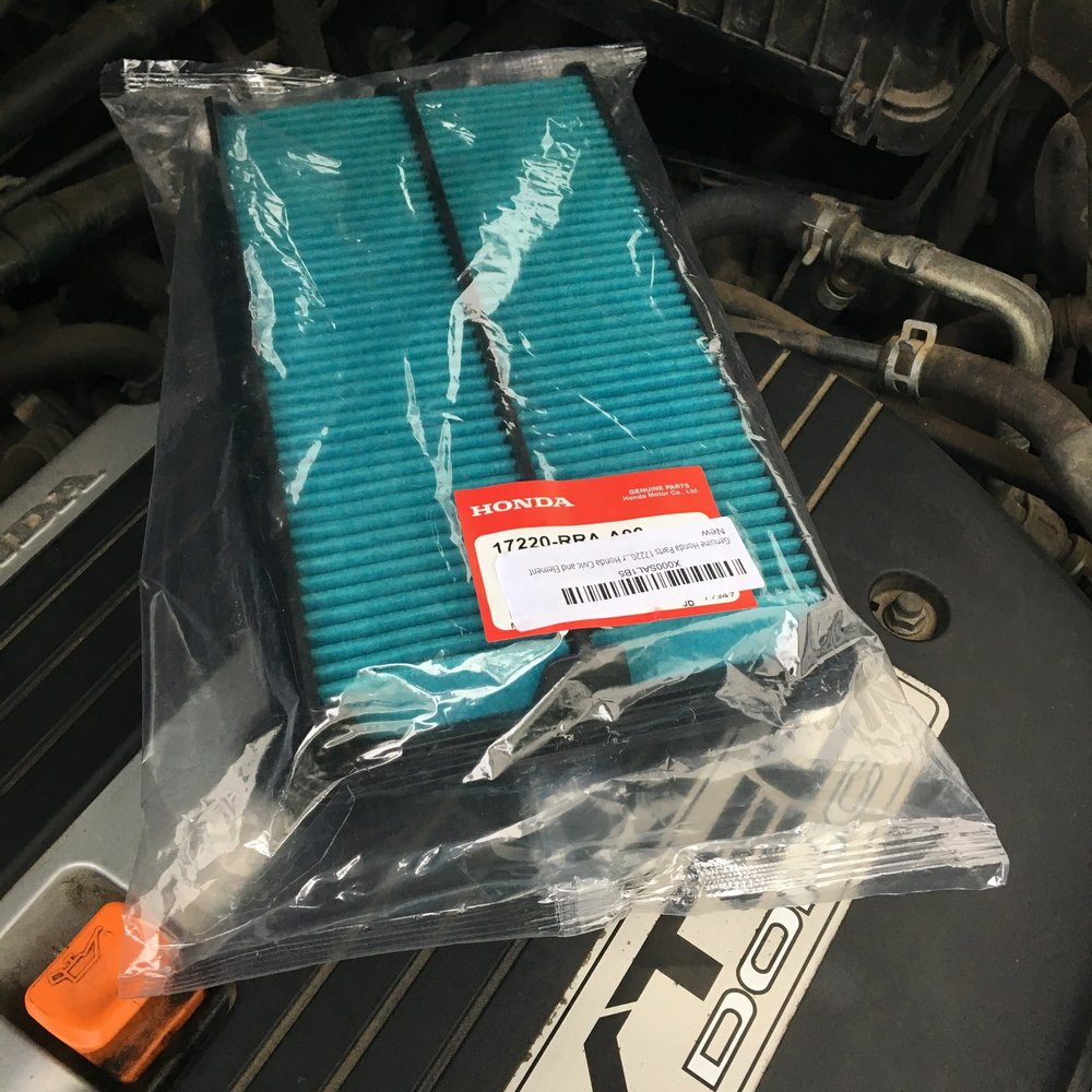 """Engine Air Filter  These are easy to install & should be replaced every 15K or so. This varies greatly depending on where you drive & the air your filter intakes. Just open the hood & inspect it yourself (4 screws on 03-06 or 5 latches on 07-11) if it's dirty replace it. Mechanics & Quick Lube places will charge you a premium for this easy DIY job. Save some money & help preserve your engine by replacing the filter yourself.  PLEASE NOTE; These are Genuine Honda Parts, you could save more by buying generic.  The ROUND filter is for 2003-2006  the RECTANGLE filter is for 2007-2011 INSTALL NOTE; install with the Blue side down & tab (black plastic) at the front of the Element. Otherwise the lid will not close properly. The """"tab"""" can be seen in the product photo below (bottom left side)."""