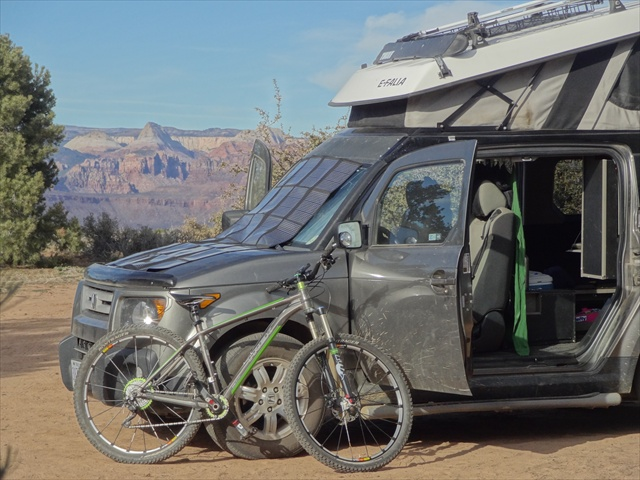 The first big trip/test of the 60 watt panel & our original Micro Camper interior prototype. Both are still in use today. Photo taken in 2011.