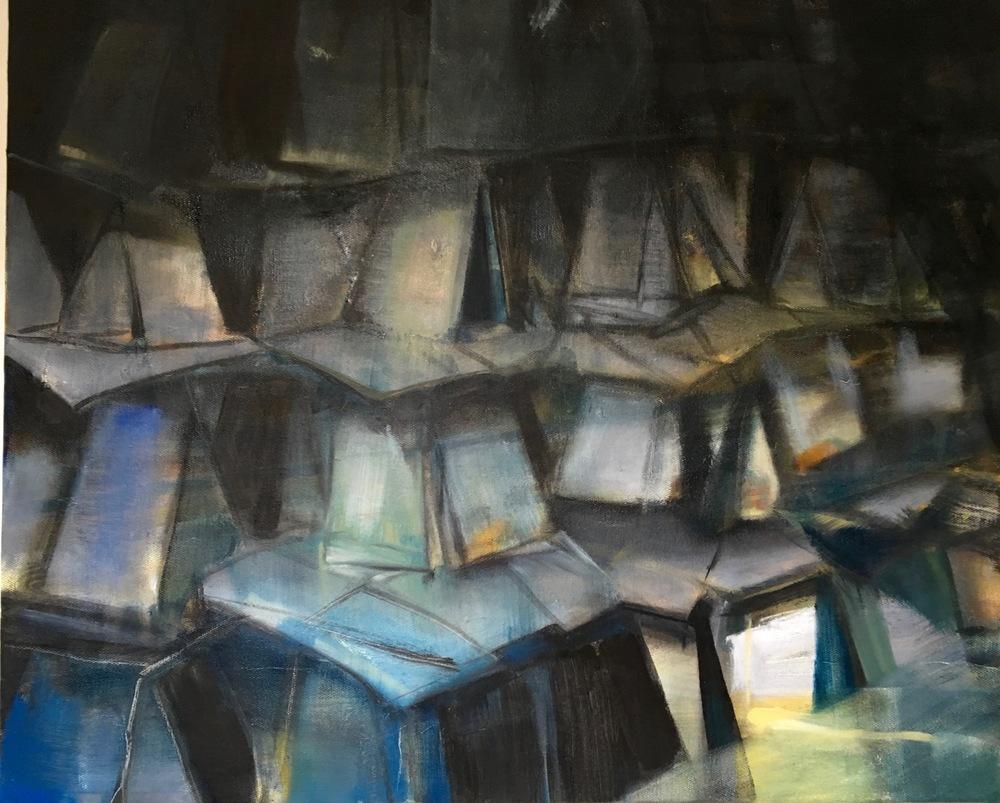 CARTES 4, 2016, huile sur toile, 50x61 cm