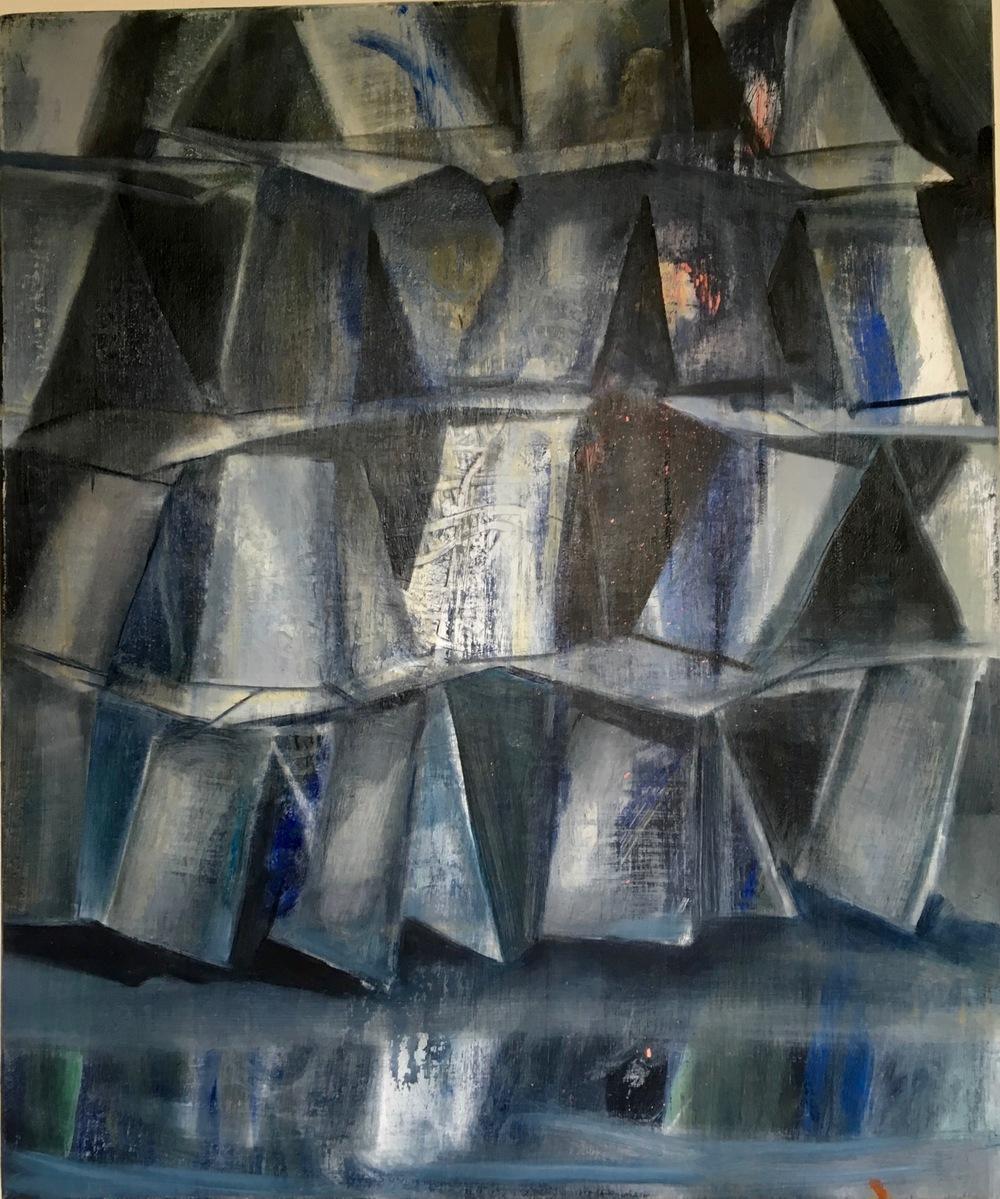 CARTES 5, 2016, huile sur bois, 55x46cm