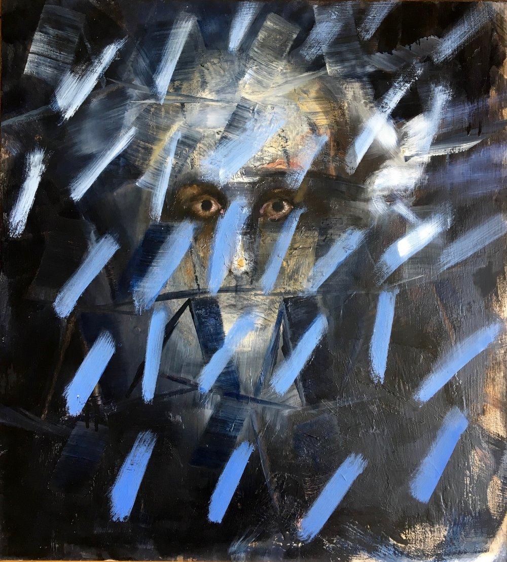 CARTES, 8, 2012, huile sur bois, 50 x 55 cm