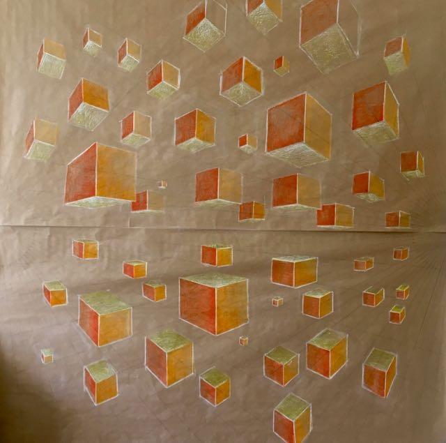 Cubes en Mouvement dans l'Espace, 2018, technique mixte sur papier, 2mx2m