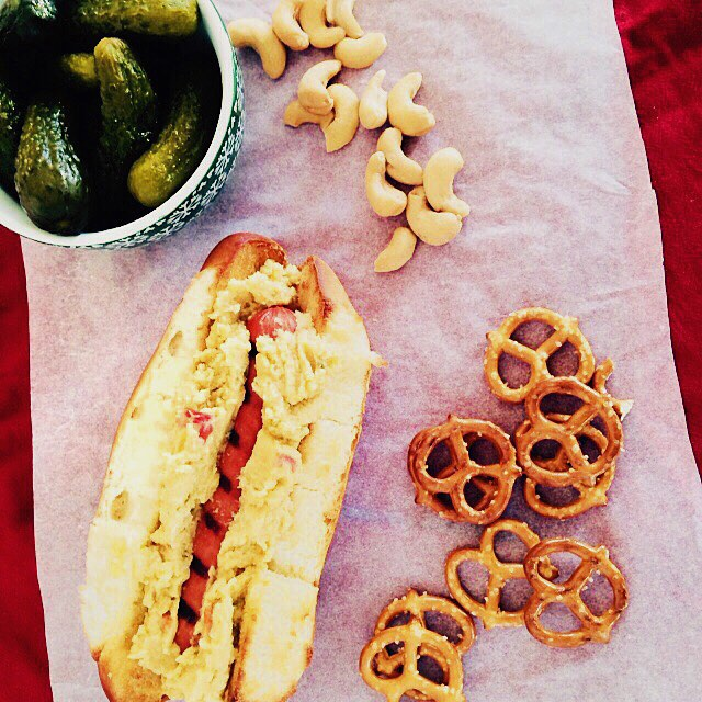 Our version of game day grub....the #hummusdog  Hot dog topped with hot Giardiniera Hummus on a toasted bun.  #football #gameday #snacks #hummus #local