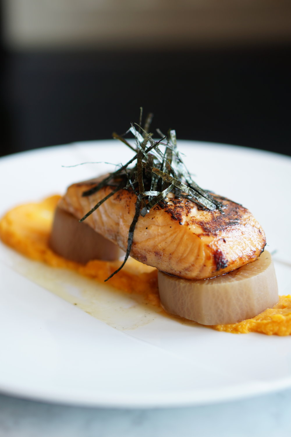 Vanilla miso salmon, daikon, sweet potato puree, nori