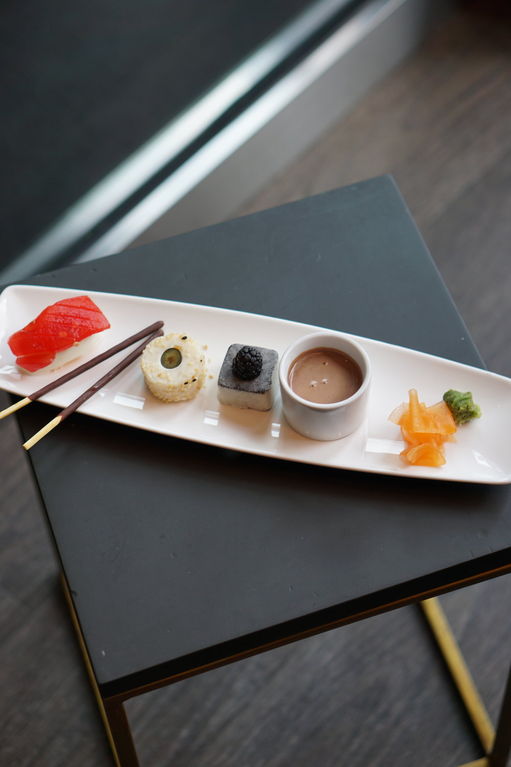 Big in Japan: watermelon panna cotta sushi, rice pudding roll, black sesame ice cream
