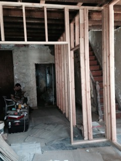 Framing of new walls on first floor.