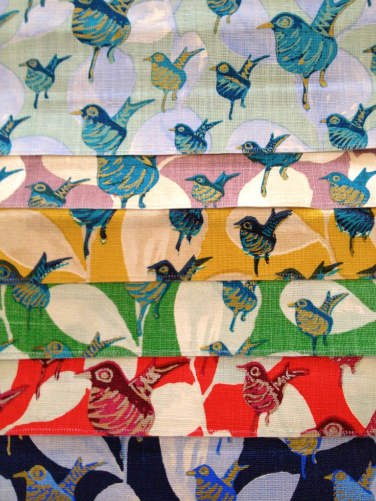 I went crazy over this this bird fabric by Lulu DK for Donghia and ordered a sample of every colorway.