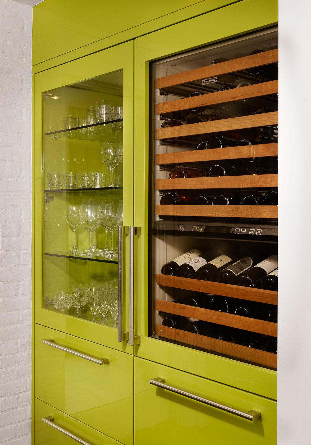 wine cabinet in the bar area