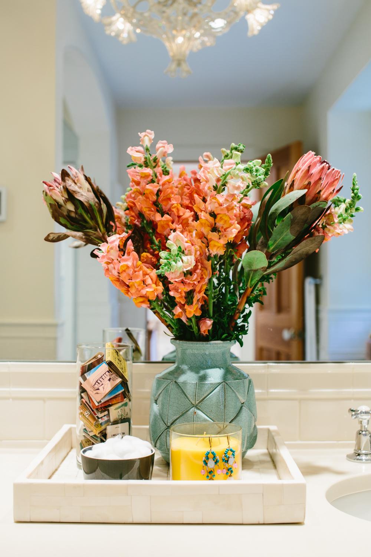 flowers at vanity