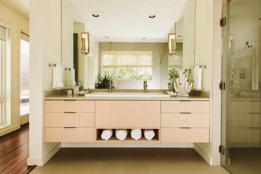 modern master bathroom with floating vanity new house san antonio texas