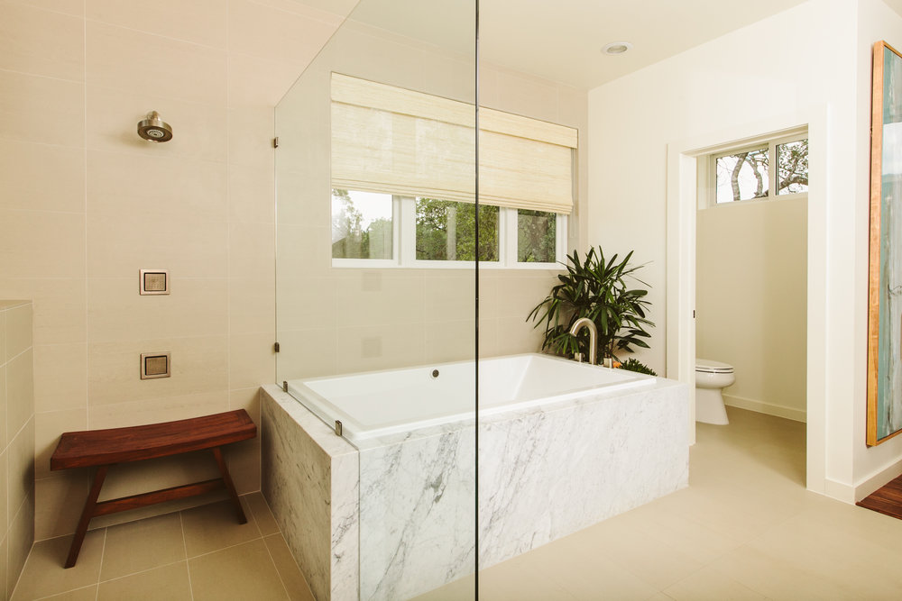 modern master bathroom in this new house san antonio, texas