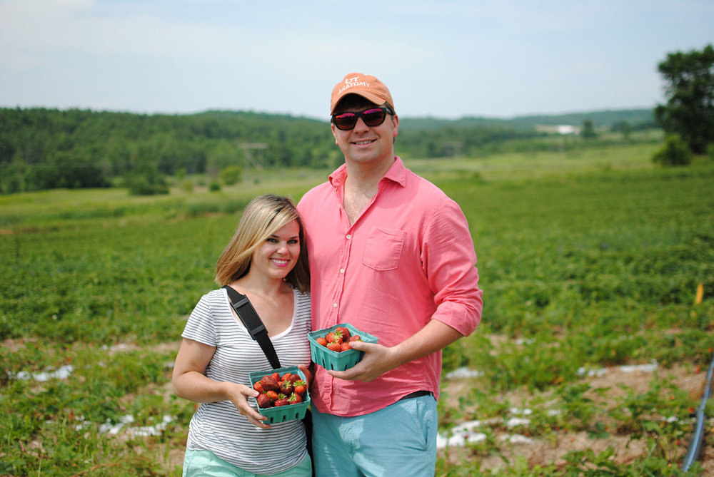 My husband Alastair and I strawberry picking in Vermont.