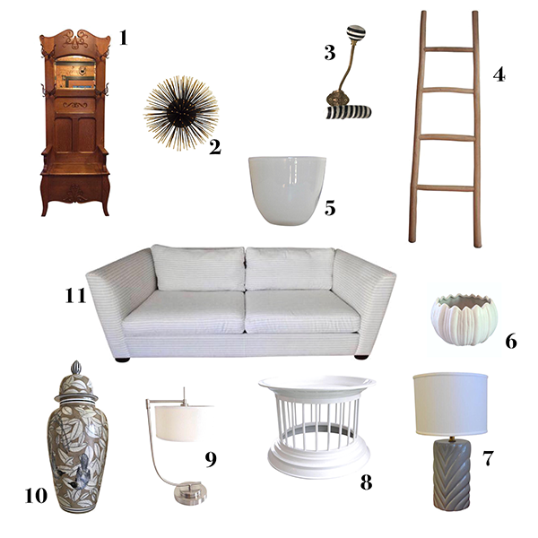 1.  Antique Oak Hall Tree   2.  Sea Urchin Wall Decor  3.  Black, White & Brass Hook  4.  Decorative Wooden Ladder  5.  Milk Glass Vase  6.  White Stem Candle Holder  7.  Vintage Gray Ceramic Lamp  8. White Lacquered Side Table  9.  A Pair of Swing Arm Table Lamps  10.  Hand Painted Porcelain Temple Jar  11.  Contemporary Striped White Sofa