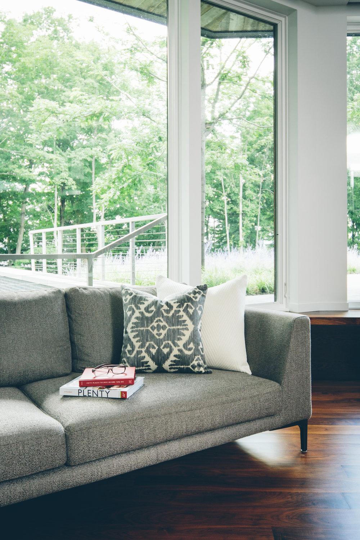 living room modern lake house vermont