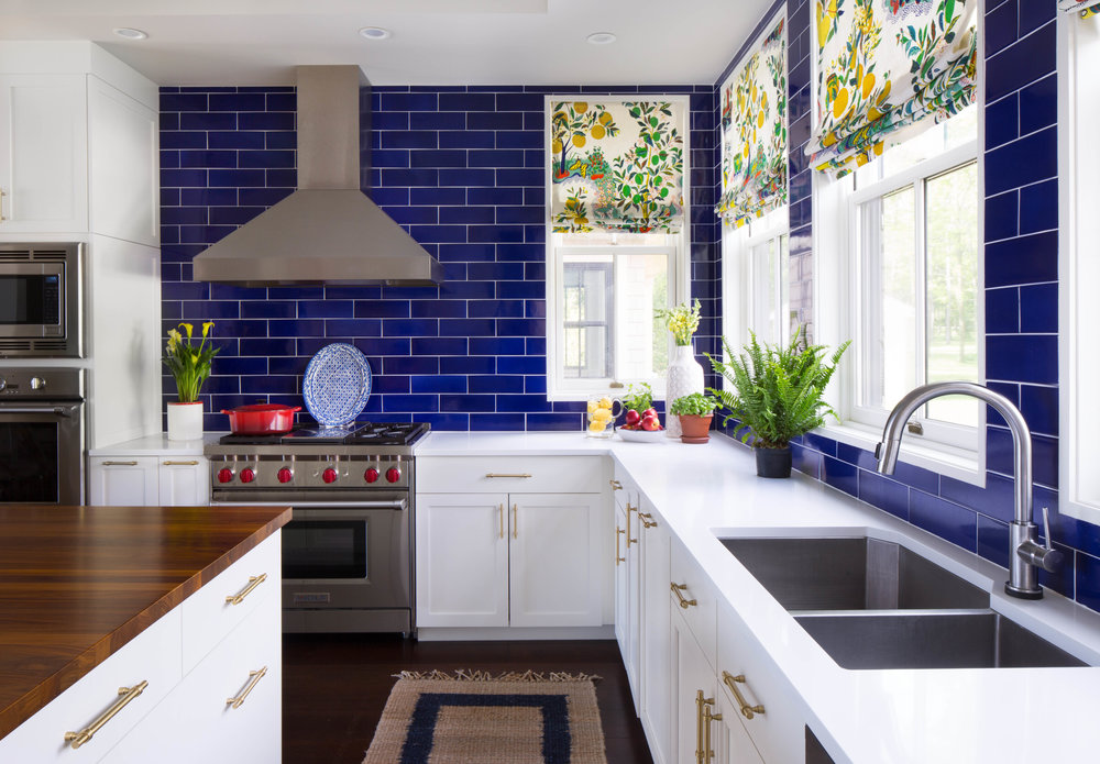 blue and white kitchen vermont