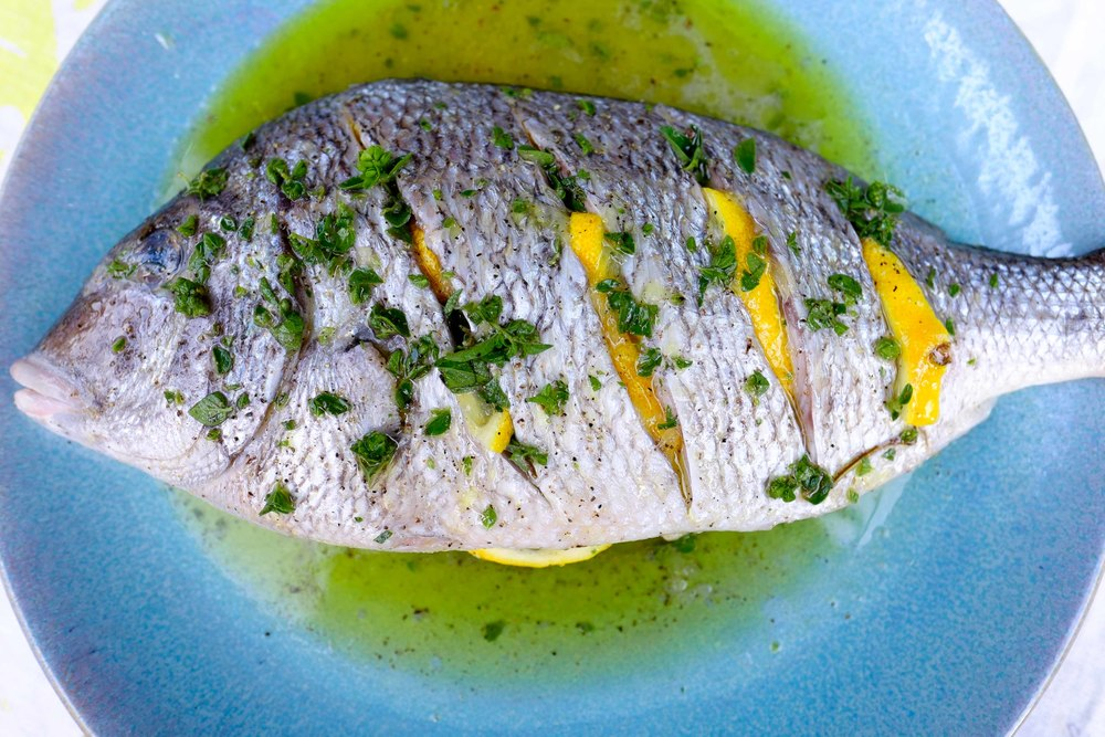 Grilled porgy with oregano and lemon blue moon fish for Porgy fish recipe