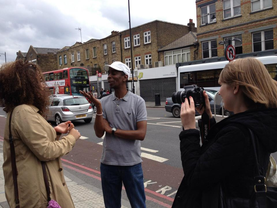 Filming on the streets of Dalston, London, UK