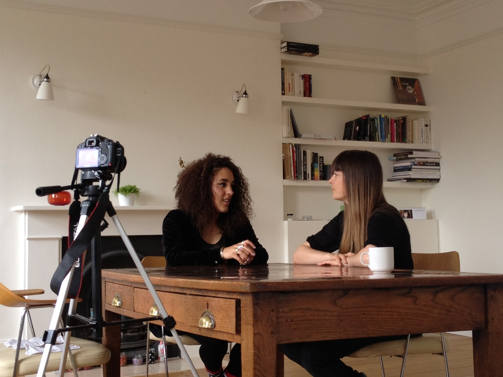 Filming an interview with artist Ingrid Berthon-Moine