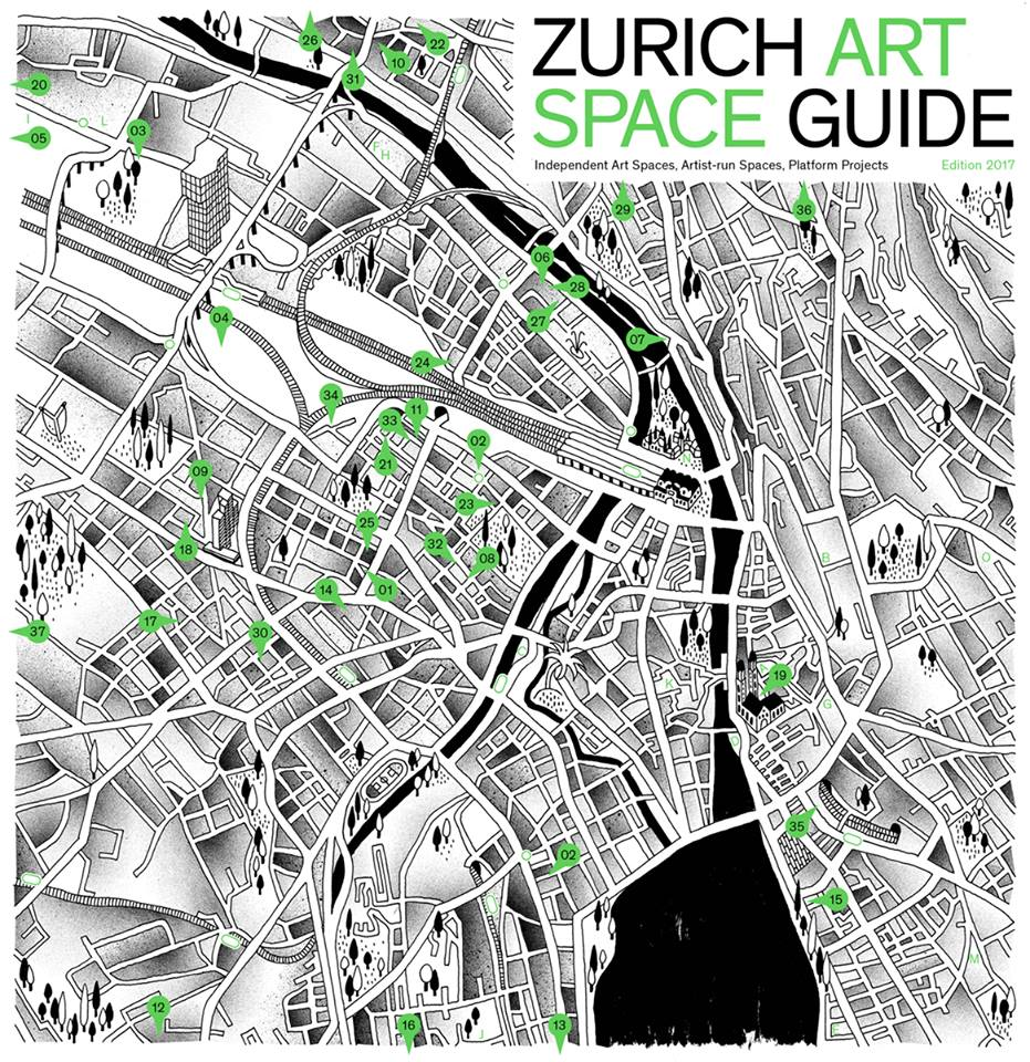 ZURICH ART SPACE GUIDE  is a free A4 color brochure published every year and which offers an up to date listing of the independent art spaces, artist run-spaces and platform projects in Zürich.  Original idea by Anne-Laure Franchette.  Edited in collaboration with Andreas Marti.  Design by Badesaison    www.artspaceguide.ch      www.facebook.com/zurichartspaceguide