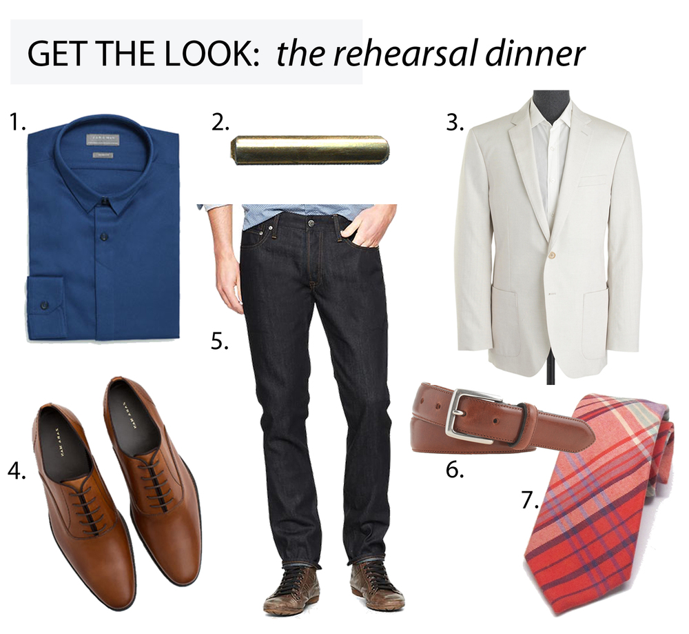 From top left: 1. Structured Blue Shirt, Zara // 2. To The Point Tiebar, Kathrine Zeren // 3. Crosby Sports Coat, J.Crew // 4. Leather Gros-Grain Laceups, Zara // 5. Skinny Fit Jeans, Gap Denim // 6. Stitched-Edge Belt, J.Crew // 7. Coral Plaid Tie, Kathrine Zeren