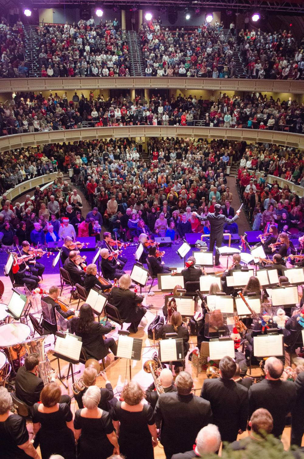 The Portland Symphony Orchestra and the Magic of Christmas audience sing along -2014