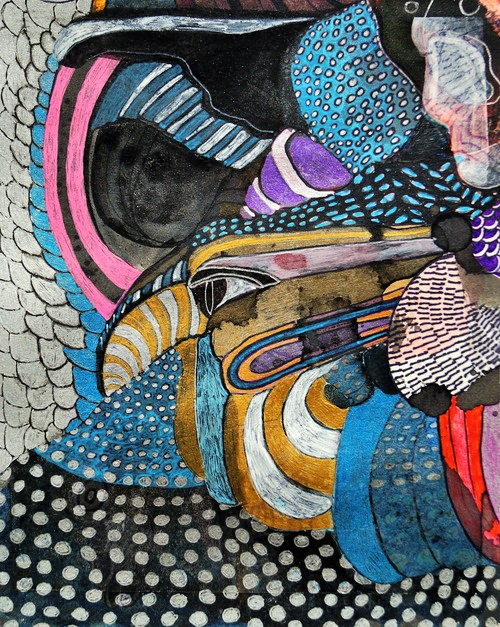 """Awakening the Eagle Pen and ink on paper 5"""" x 6"""" Sold"""