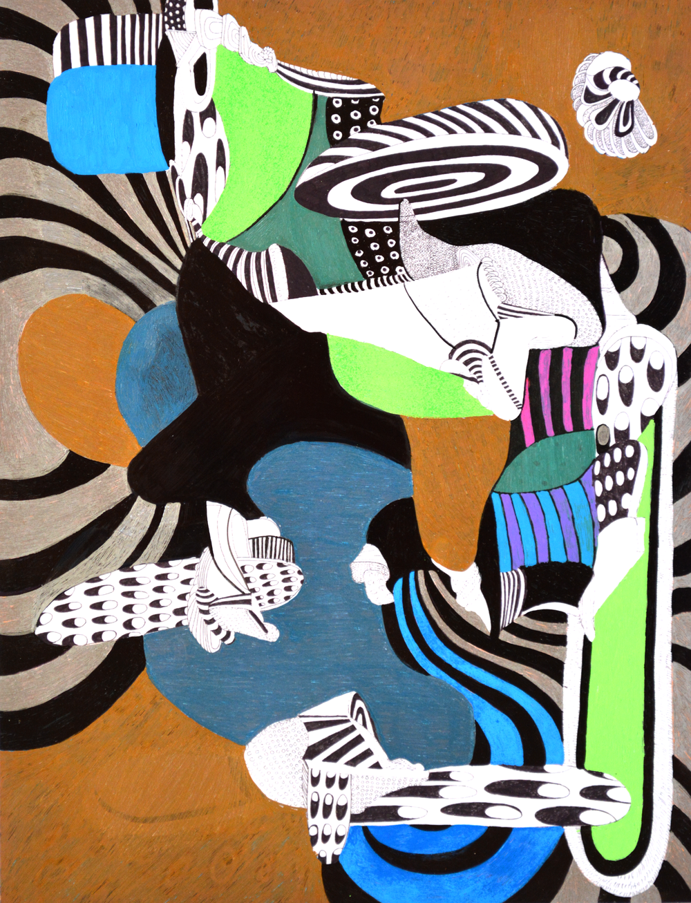 """Digitally Inked: Abstraction #1 Pen on high gloss archival ink print 8.5"""" x 11"""" $300"""