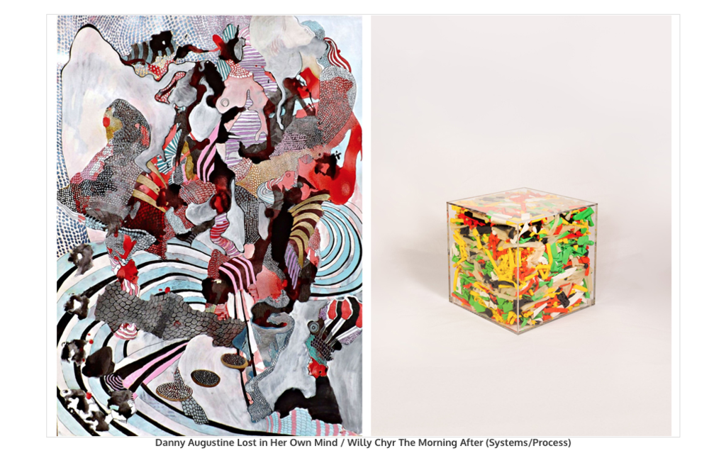 "The President's Gallery presents a two-person exhibit by Chicago-based artists Danny Augustine and Willy Chyr titled ""Parallel/Parallax."" Both artists use structured processes in their artworks that lead to unanticipated forms and color. http://www.pedestrianproject.org/2013---parallelparallax.html"