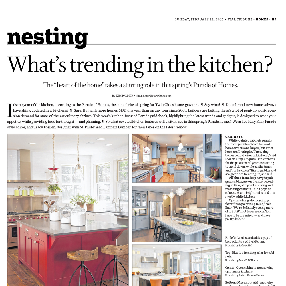 Mark D. Williams Featured in the Star Tribune for Trending Kitchens
