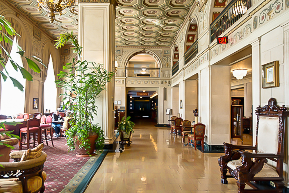 The stately lobby of the Brown Hotel.