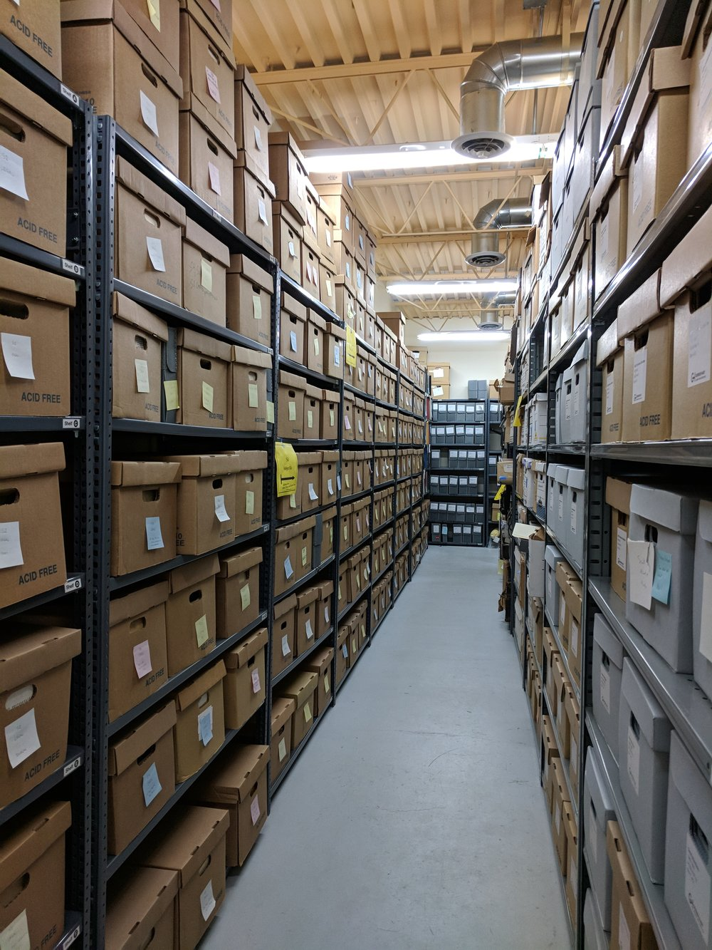 Closed stacks, archival collections storage