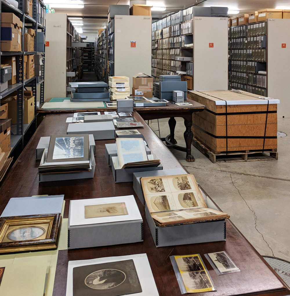 Print viewing in archival storage at the Chicago History Museum