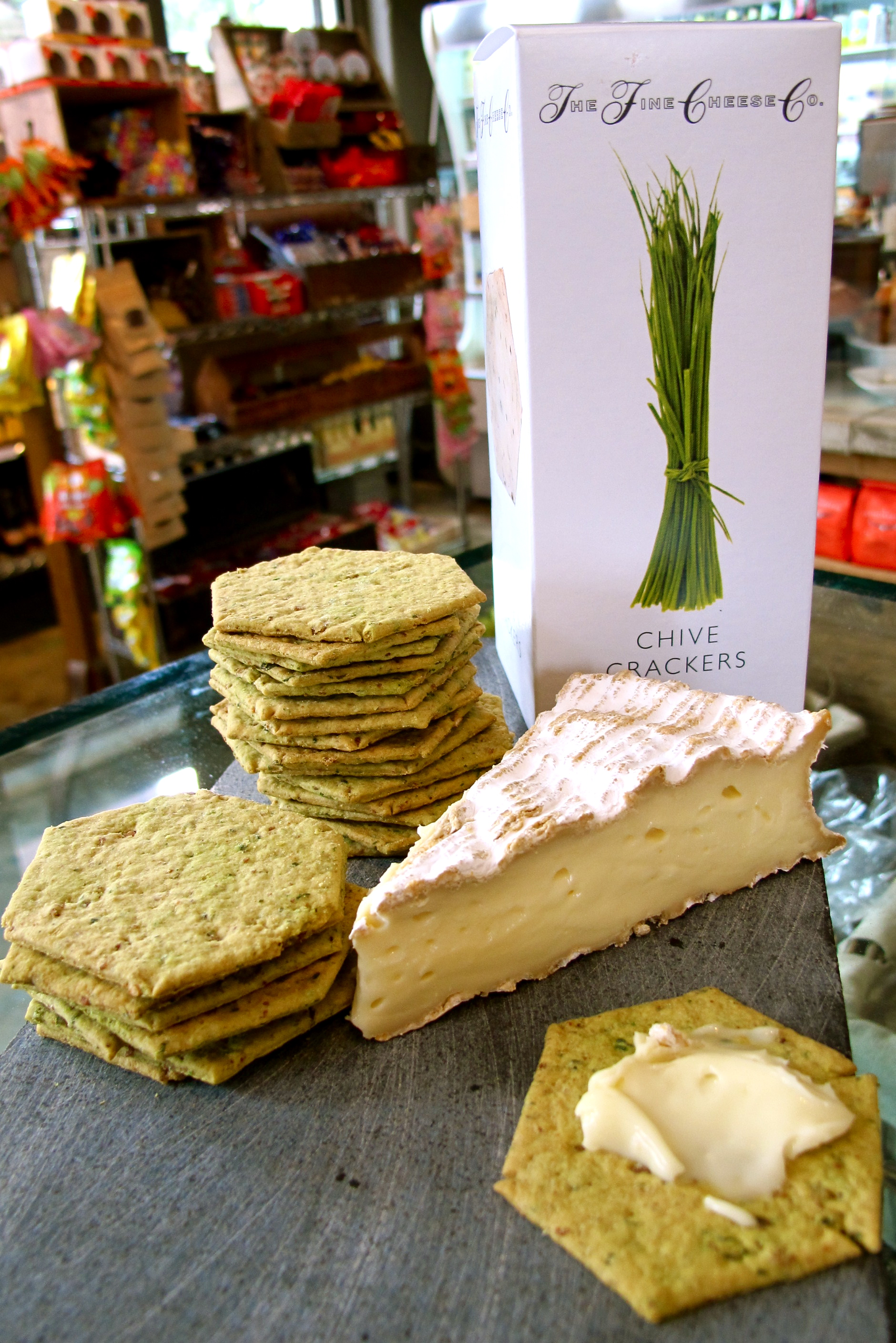 Fine Cheese Co Chive Crackers and Fromage De Meaux