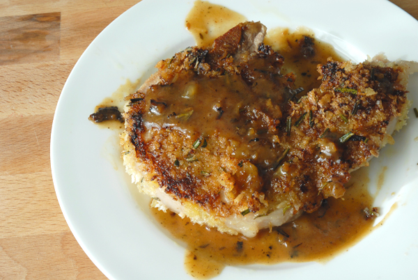 Berkshire pork chops with a rosemary crust and apple dijon