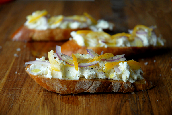 How to make preserved meyer lemon and smoked ricotta crostini