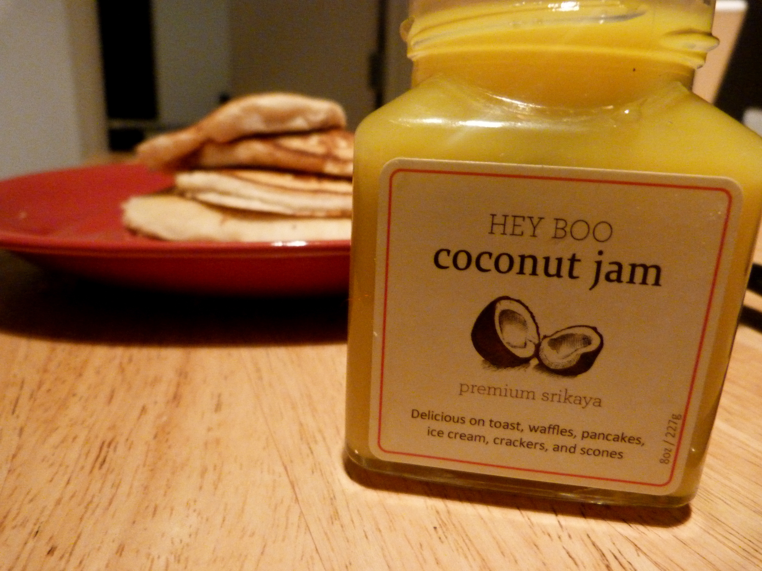 Hey Boo Coconut Jam over pancakes