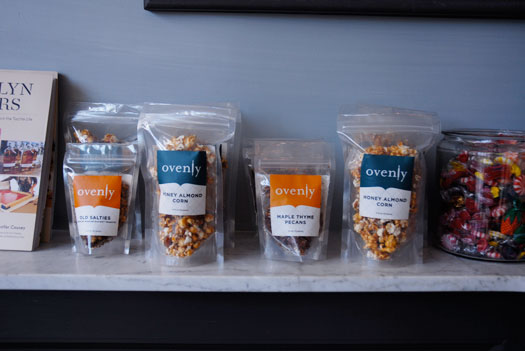 Ovenly's bar snacks - honey almond corn, old salties, spicy bacon caramel corn